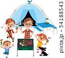 家族でキャンプ(バック白) 54188543