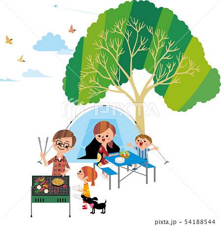 家族でキャンプ(俯瞰) 54188544