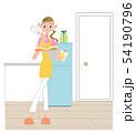 料理しょうと本を見る若い女性。 54190796