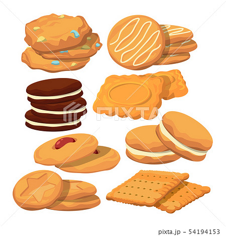 Decorated cookies in cartoon style. Vector baking illustration isolate on white 54194153