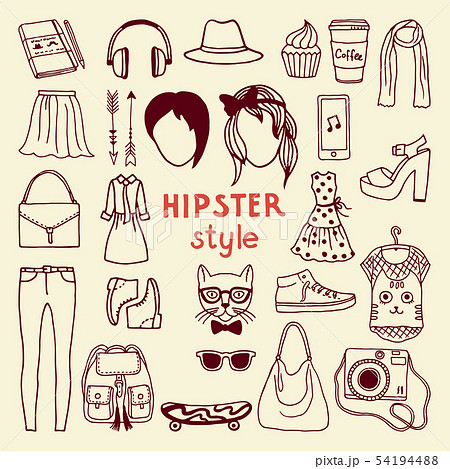 Funky hipster style elements of female. Different stylish accessories 54194488