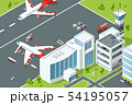 Airport, controls buildings of aircraft. Plane ramp and different support machines on runway 54195057