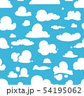 Different vector clouds on blue sky. Seamless pattern in cartoon style 54195062