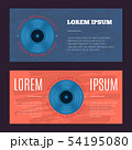 Vector vintage flyers with sound record studio, vinyl music shop, club logo with vinyl record on 54195080