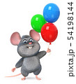 3d illustration funny mouse with balloons 54198144