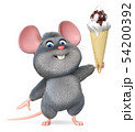 3d illustration funny mouse with ice cream 54200392