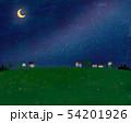 草原と家と夜空と月の景色 54201926