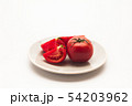 Sliced Fresh ripe tomatoes on a plate 54203962