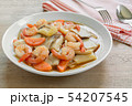 stir fried king oyster mushroom with shrimp. 54207545