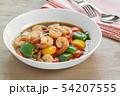 stir fried shrimp with black and sweet pepper. 54207555