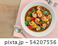 stir fried shrimp with black and sweet pepper. 54207556