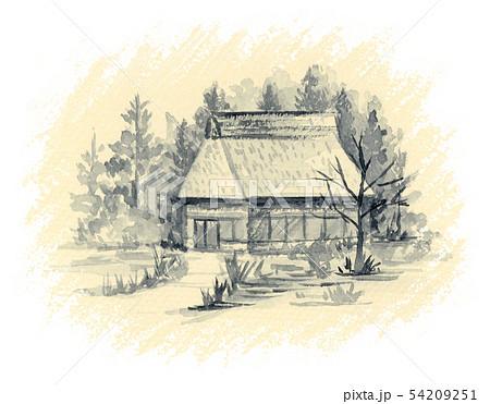 茅葺の家 墨絵 セピア色背景 54209251