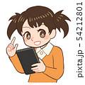 子ども 女の子 タブレットのイラスト 54212801