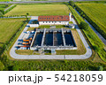 Aerial view of small sewage treatment plant with wastewater tanks and filters 54218059