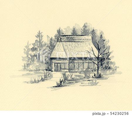 茅葺の家 墨絵 セピア色背景 54230256