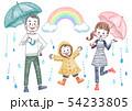 雨の日の家族 54233805