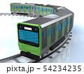 CG 3D イラスト 立体 デザイン 日本 東京 交通 乗り物 電車 山手線のイメージ 54234235
