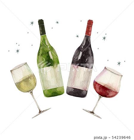 赤ワインと白ワインで乾杯パーティ イラスト 水彩 54239646