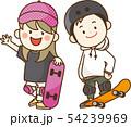 スケートボードを楽しむ子供 54239969