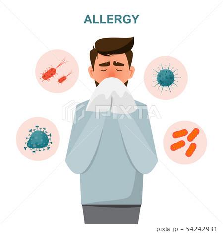 health care concept. man get sick allergy symptoms 54242931