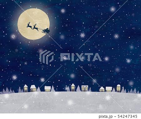 サンタと雪の夜空と街の景色油彩 54247345