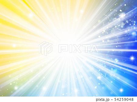 青色黄色キラキライメージ放射状 54259048