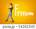 Young brunette girl wearing casual jeans and t-shirt showing double fist gesture with FREEDOM sign 54262545