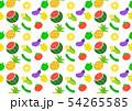 夏野菜とフルーツのパターン 白背景 54265585