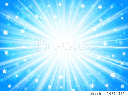 青色星キラキラ放射線イメージ 54271542