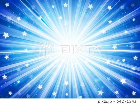 青色星キラキラ放射線イメージ 54271543