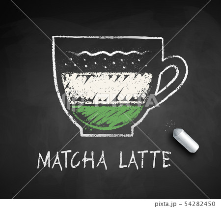 Vector chalk drawn sketch of Matcha Latte 54282450