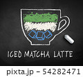 Vector chalk drawn sketch of iced Matcha Latte 54282471