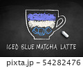 Vector chalk drawn sketch of iced Blue Matcha 54282476