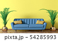 Modern interior of living room with blue sofa and 54285993