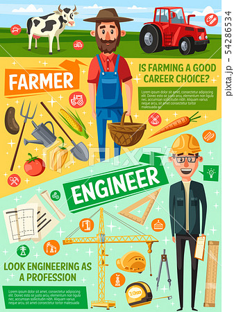 Farmer, building engineer or architect professions 54286534