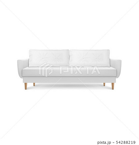 Vector 3d Realistic Render White Leather Luxury Office Sofa, Couch with Pillows in Simple Modern 54288219