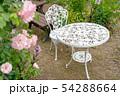 ガーデンテーブルとピンクの薔薇 54288664