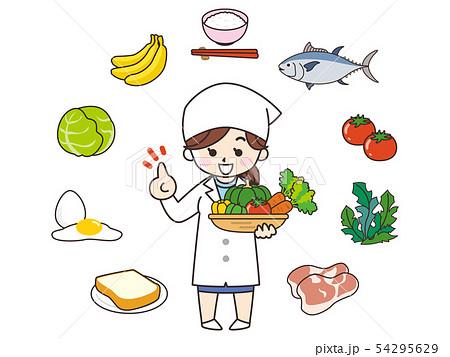 栄養士の女性と食材 54295629