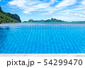 Swimming pool looking at sea view mountain and 54299470