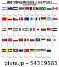 Collection of flat desk flags, most popular world 54309583