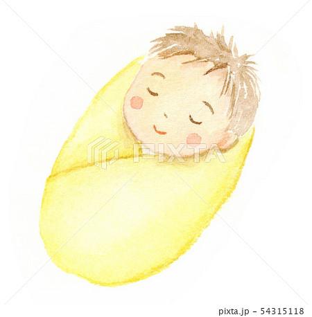 眠る赤ちゃん 黄色いおくるみ 水彩イラスト 54315118