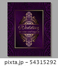 Wedding invitation card with gold shiny eastern 54315292