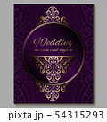 Wedding invitation card with gold shiny eastern 54315293
