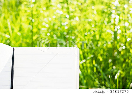 メモ帳とぼやけた草むらの背景 54317276