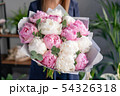 Pink and white peonies in womans hands. Beautiful peony flower for catalog or online store. Floral 54326318