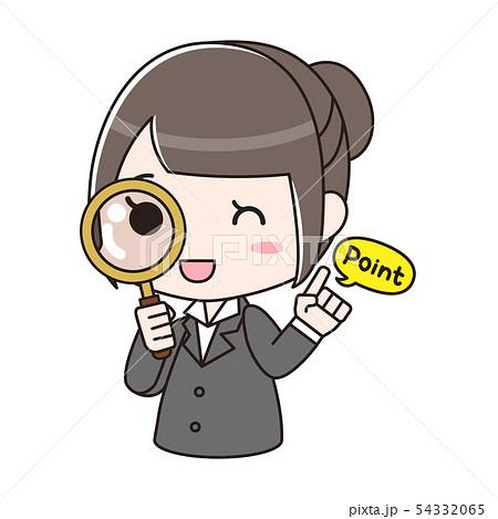 虫眼鏡を覗き込んで「Point」と言っているスーツの女性 54332065