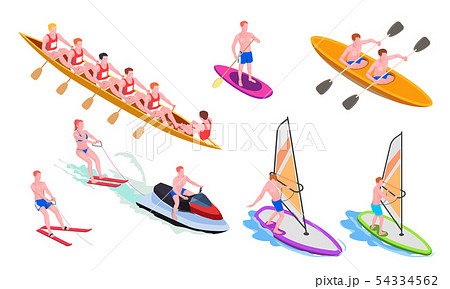 Isometric Water Sports Icon Set 54334562