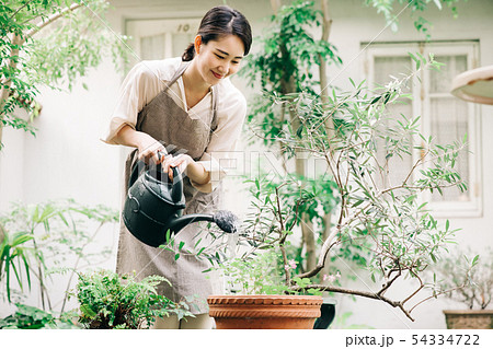 ジョウロで水やりをする若い女性 ガーデニング 54334722