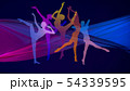 Silhouettes of young graceful female ballet dancers on dark background 54339595