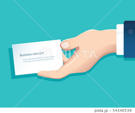 human hand holding white paper isolate 54340539